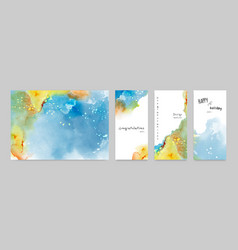 set hand-painted watercolor card or poster vector image