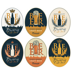 set labels for beer and brewery in oval frames vector image
