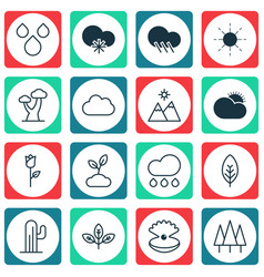 Set of 16 harmony icons includes sun raindrop vector