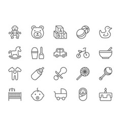 Set of baby and childhood line icons toys vector