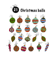 set of color christmas icons vector image