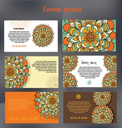Set of design cards for text with floral motifs vector