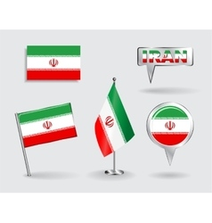 Set of Iranian pin icon and map pointer flags vector