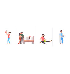 Set parents and their newborn having fun together vector