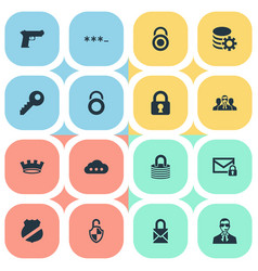 Set simple protection icons vector