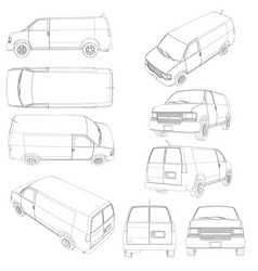 set with the contours of the van vans with vector image
