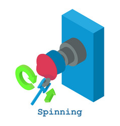 Spinning metalwork icon isometric 3d style vector