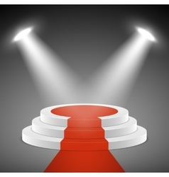 Spotlights illuminate stage pedestal with red vector