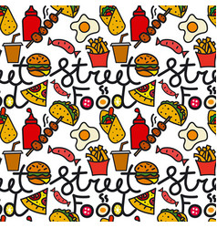 street food seamless pattern vector image