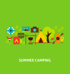 summer camping greeting card vector image