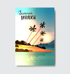 summer paradise vertical sunset palm tree beach vector image