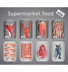 Supermarket fish and meat set vector