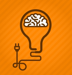 Symbolic light bulb with brain inside and electric vector