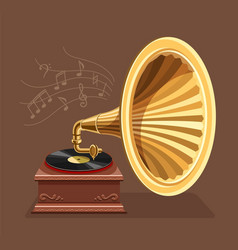 Vintage gramophone with retro vector