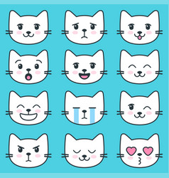 white cat faces with different emotions vector image