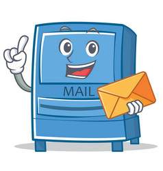 With envelope mailbox character cartoon style vector