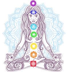 Woman doing yoga concept mandala vector