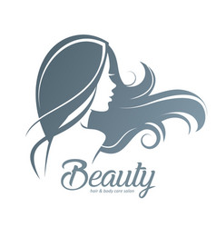 womans hair style stylized sillhouette beauty vector image