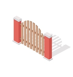 Wooden Fence In Isometric Projection vector