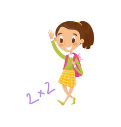 schoolgirl carrying backpack and waving her hand vector image