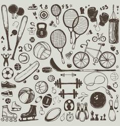 sport sketch equipment hand drawn vector image