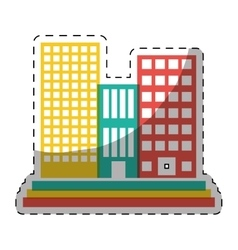 colorful buildings and city scene line sticker vector image vector image