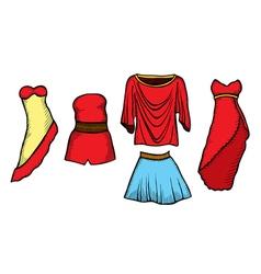 Fashion sketch set vector