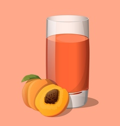 Full glass of peach juice vector image
