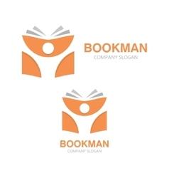Open book and man logo education logo vector