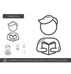 Reading line icon vector image vector image