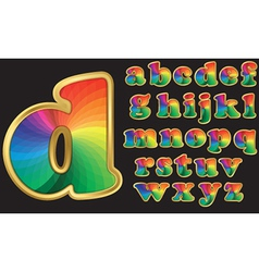 Colorful rainbow alphabet with gold frame vector image
