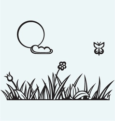 Grass and flower vector image