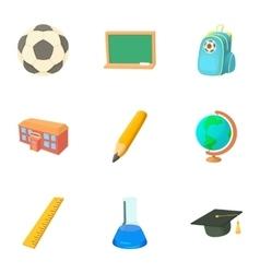 School icons set cartoon style vector image vector image