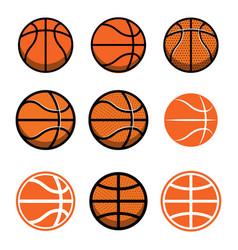 set of basketball balls isolated on white vector image