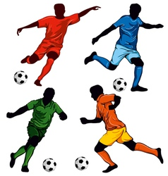 set of four soccer players vector image