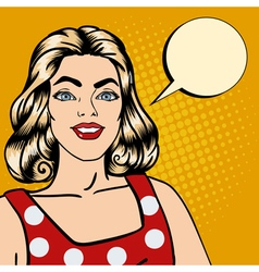 Smiling Woman Bubble for Expression Pop Art vector image vector image