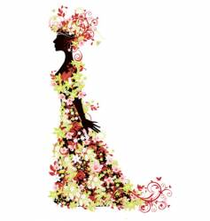 summer flower woman vector image vector image