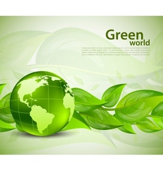 Background with leaves and globe vector image vector image