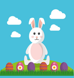 cute rabbit sitting with differents easter eggs vector image