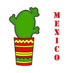 cute with cactus vector image