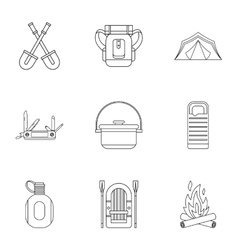 Forest icons set outline style vector