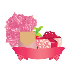 Gift and roses vector image vector image