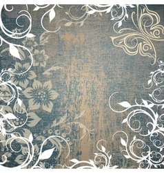 grunge background with floral pattern vector image