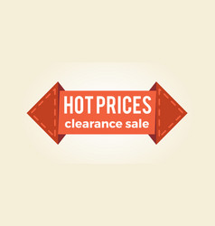 hot prices clearance sale promo label arrow shape vector image vector image