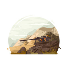 military sniper lies in wait vector image vector image