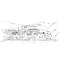 real estate silhouette big modern villa house in vector image