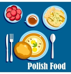 Traditional polish cuisine food and desserts vector image