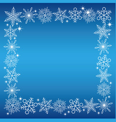 a snowflake square frame with a blue background vector image
