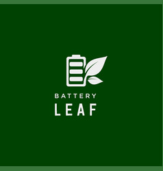 Battery leaf eco nature energy renewable simple vector