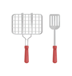 Bbq barbecue grill and spatula vector